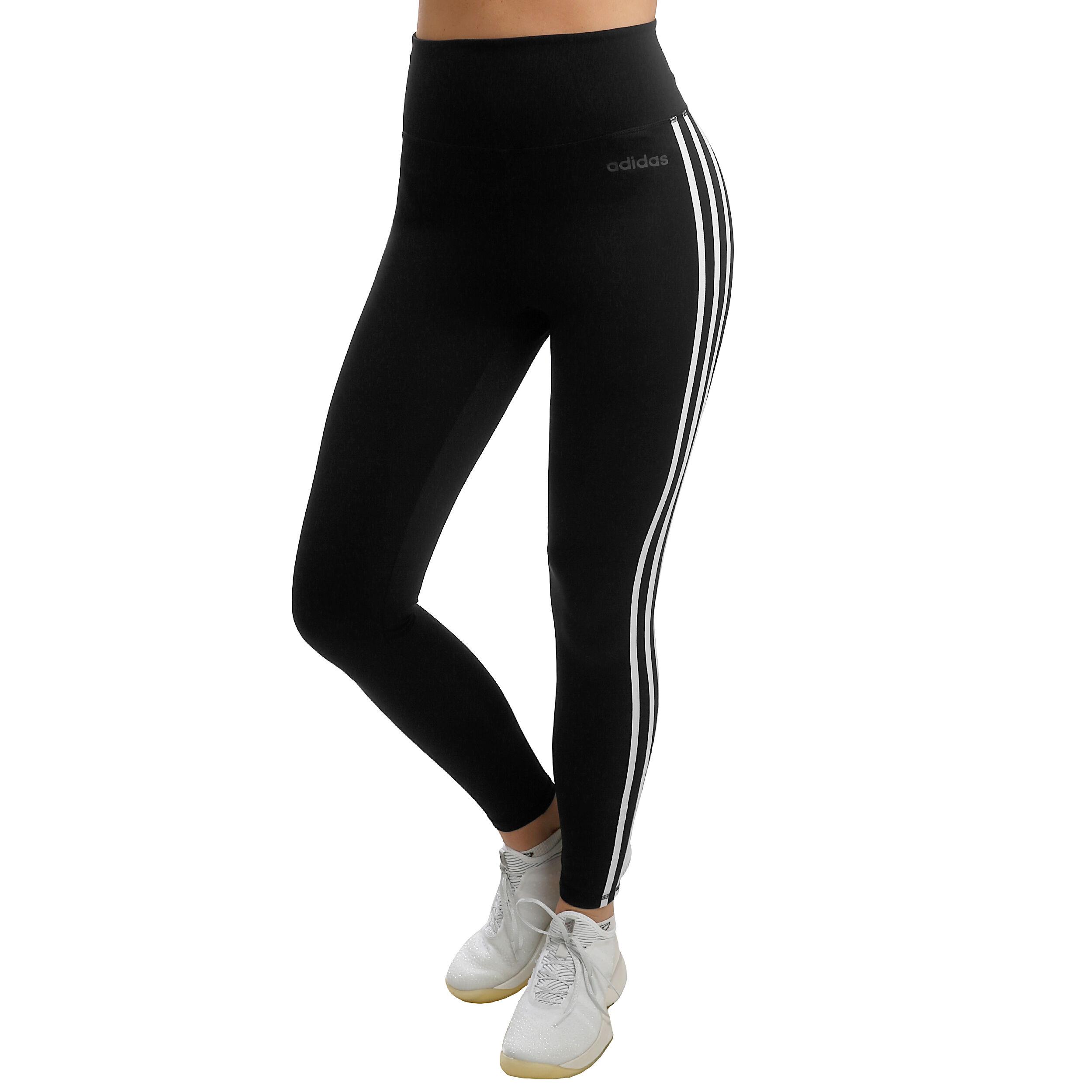 adidas D2M High Rise 3 Stripes Tight Dames Zwart, Wit