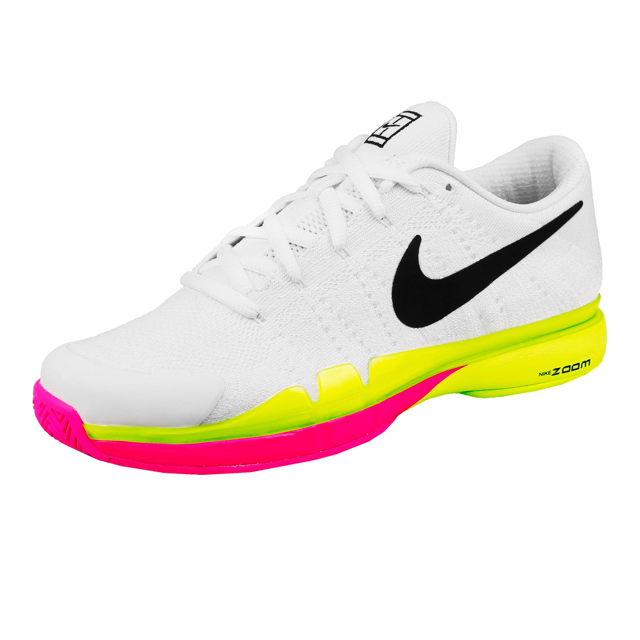 Nike Roger Federer Zoom Vapor 9.5 Tour Flyknit LE Allcourt Schoen Heren Wit, Neongeel