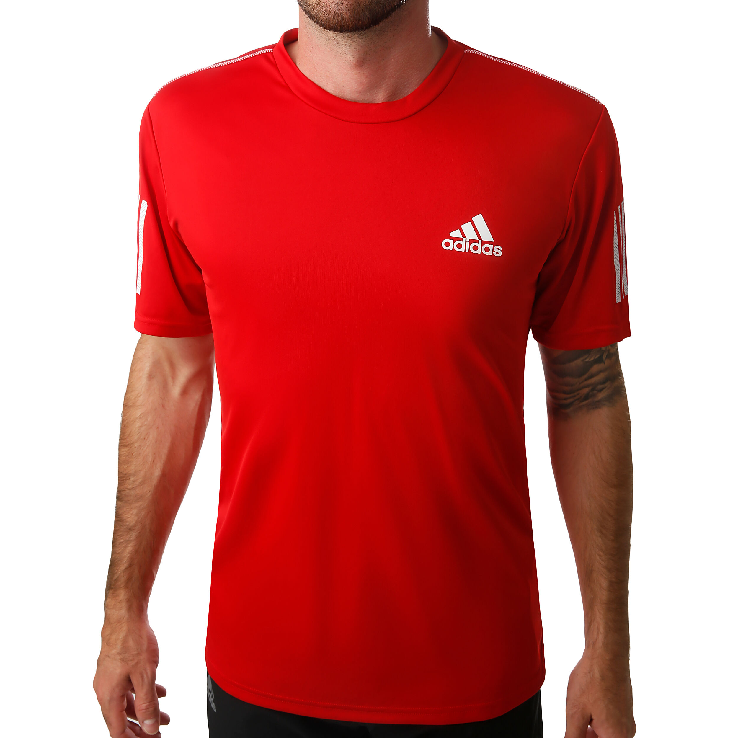 adidas Club 3 Stripes T shirt Heren Rood, Wit online kopen