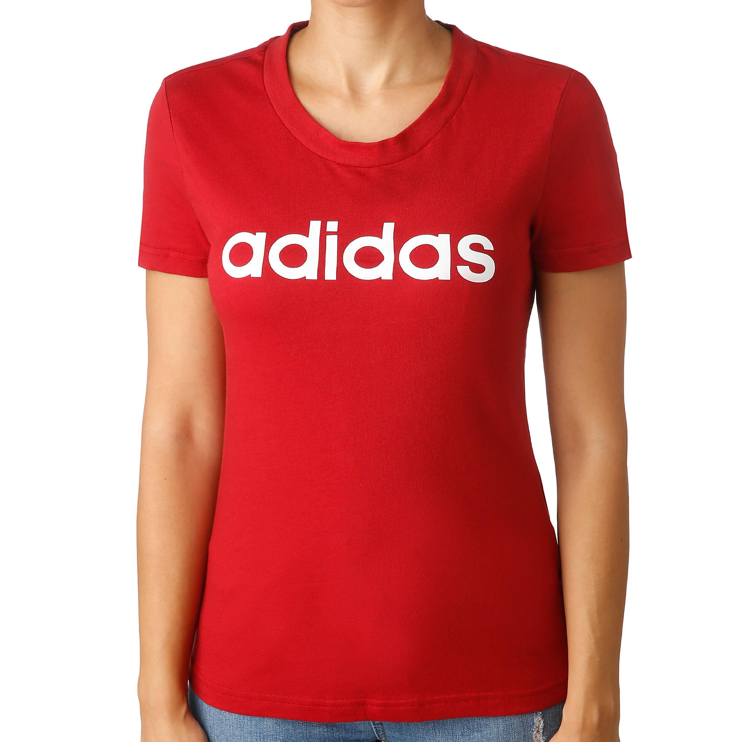 adidas Essentials Linear Slim T shirt Dames Donkerrood