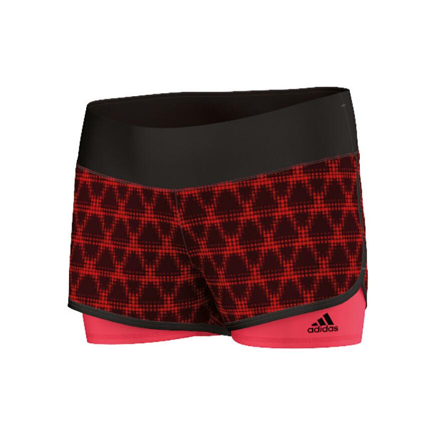 adidas Gym 2 In 1 Shorts Dames Zwart, Neonrood online