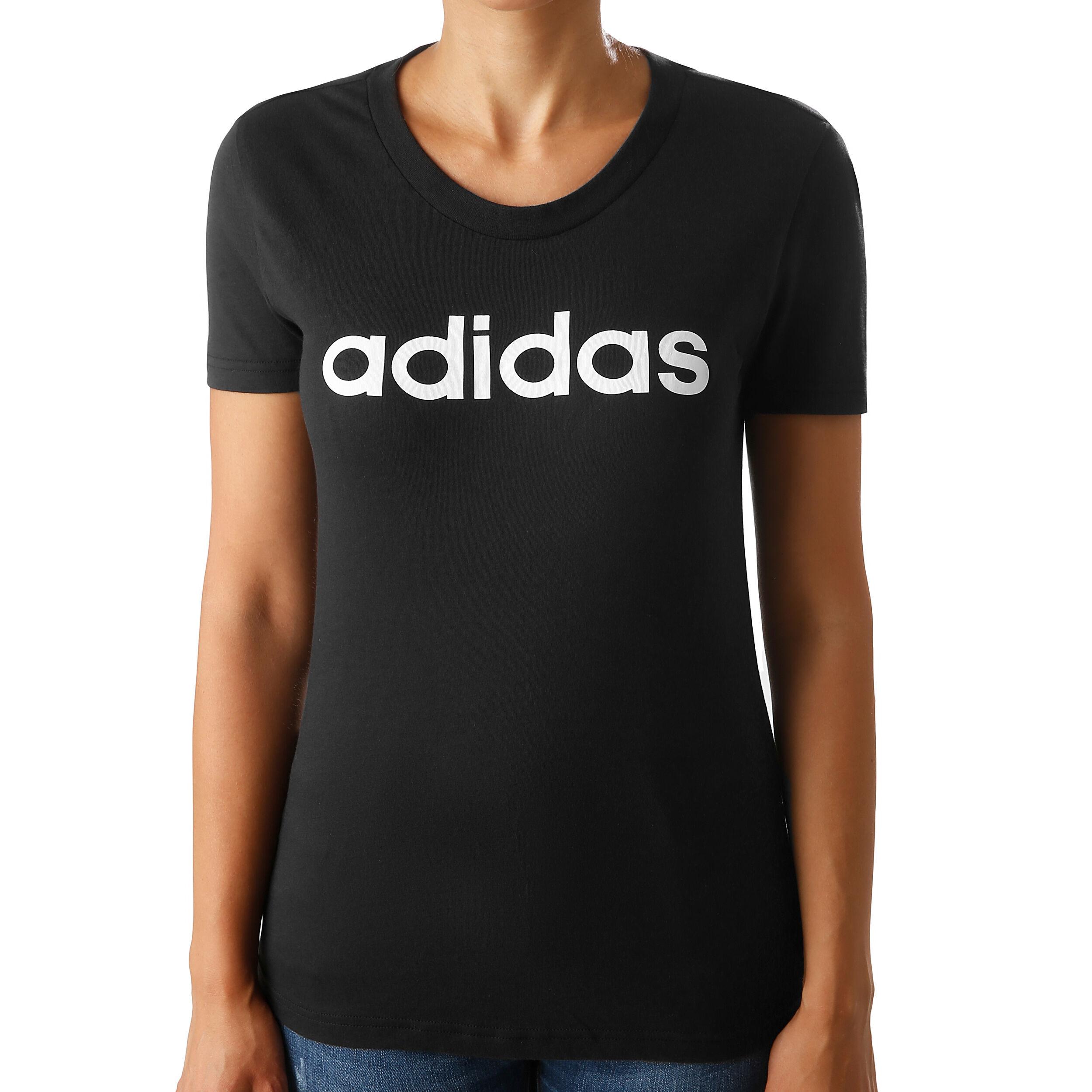 adidas Essentials Linear Slim T shirt Dames Zwart, Wit