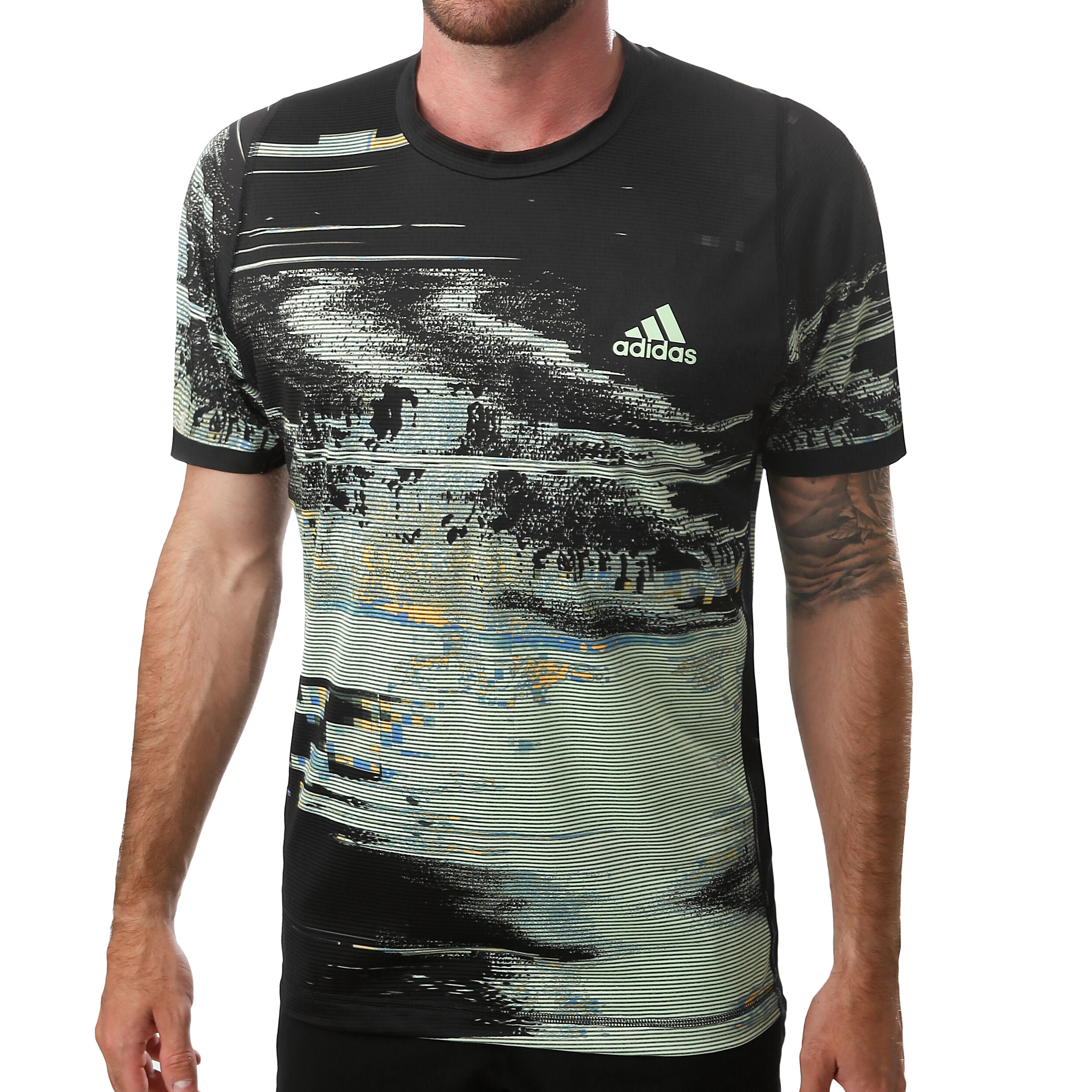 adidas New York Printed T shirt Heren Zwart, Lichtgroen